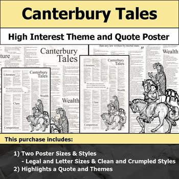 Canterbury Tales - Visual Theme and Quote Poster for Bulletin Boards