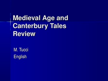 Canterbury Tales and Medieval Age Review Game