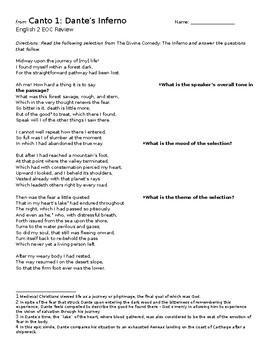 Canto 1 - Dante's Inferno - English 2 EOC Review