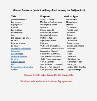 Cantos Calientes (Songs For Learning the Subjunctive) Short MPS samples