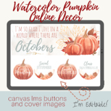 Canvas Buttons and Banners Watercolor Pumpkin Fall Themed
