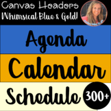 Digital Classroom Decor Headers and Banners Whimsical Blue and Gold