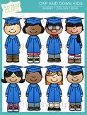 Cap and Gown Kids Graduation Clip Art