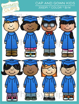 Cap and Gown Kids Clip Art