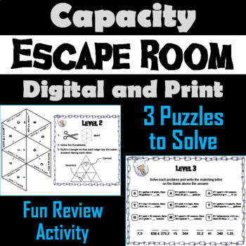 Capacity Activity: Escape Room Math Game (Ounce, Cup, Pint, Quart, Gallon)