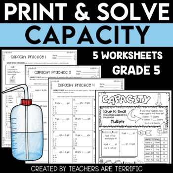 Capacity Conversion Practice Print & Solve Grade 5