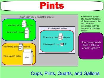 Capacity - Cups, Pints, Quarts, and Gallons - Smartboard