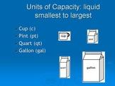Capacity: Gallon, Quart, Pint, Cup
