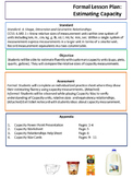 Capacity Lesson Plan - Capacity War, and Worksheet