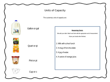 Capacity Lesson Plan Power Point - Math Measurement and Customary Units