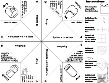 Capacity Practice Activity (Ounces, Cups, Pints, Quarts, Gal.) 3rd 4th 5th Grade