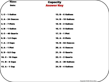 Capacity Task Cards (Ounces, Cups, Pints, Quarts, Gal.) 3rd 4th 5th Grade