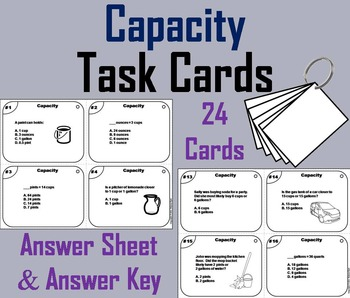 Capacity Task Cards (Ounces, Cups, Pints, Quarts, Gal.) 3r