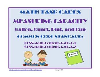 Capacity Task Cards Customary Measurement