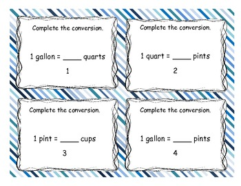 Capacity Task Cards-Gallons, Quarts, Pints, Cups