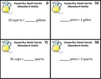 Capacity Task Cards Standard Measurement:Gallons, Quarts, Pints, Cups