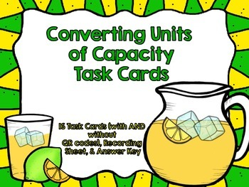 Capacity Task Cards-With and Without QR Codes