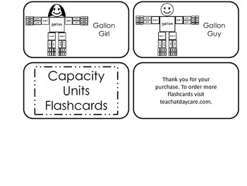 Capacity Units printable Picture Word Flash Cards. Preschool flashcards.