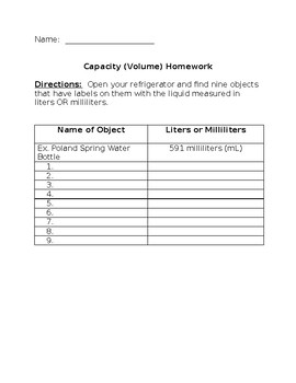 Capacity (Volume) Homework