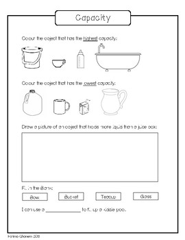capacity worksheet by small hands teaching resources tpt. Black Bedroom Furniture Sets. Home Design Ideas