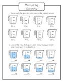 Capacity Worksheet - Measuring Cups