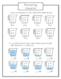 Capacity Worksheet - Measuring Cups