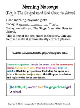 Back to School: The Gingerbread Girl Goes to School (Thematic Unit 1)