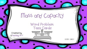 Capacity and Mass Task Cards