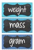Capacity and Mass Vocabulary Word Wall Flash Cards