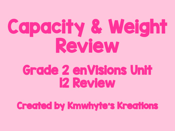 Capacity and Weight Review - Grade 2 enVisions Unit 12 Review