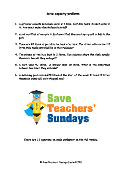 Capacity word problems lesson plans, worksheets and more