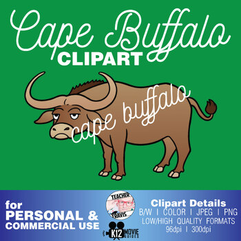 Cape Buffalo Clip Art   (TeacherTravis Clipart)