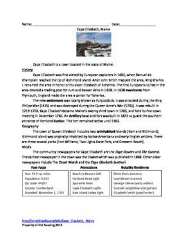Cape Elizabeth Maine - Review Article History Facts Questi
