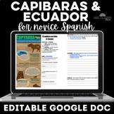 Capibara y Ecuador Cultural Stations Google Doc Novice Spanish