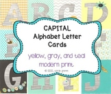 Yellow, Grey, and Teal Alphabet Letter Cards