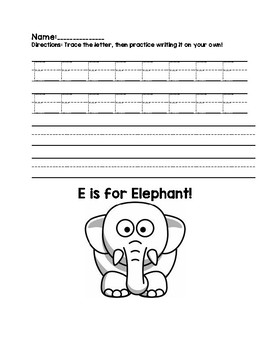 Capital E Handwriting Practice
