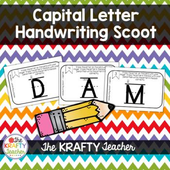 Capital Letter Handwriting Scoot - Kindergarten, First, Center or Station