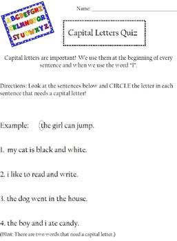 Capital Letter Quick Assessment