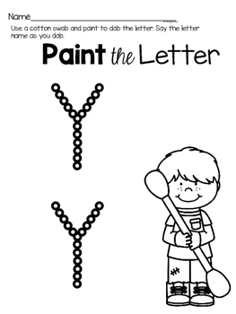 Capital Letter Y Alphabet Center Activities