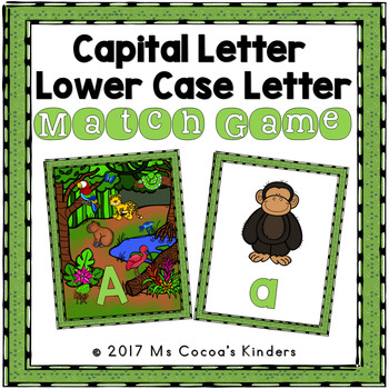Capital Letter and Lower Case Letter Match Game - Animal Habitat Bundle