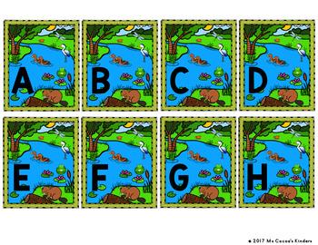 Capital Letter and Lower Case Letter Match Game - Animal Habitat - Wetlands