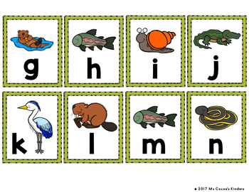 Capital Letter and Lower Case Letter Match Game - Animal Habitat - Wetlands