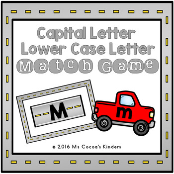 Capital Letter and Lower Case Letter Match Game - Cars