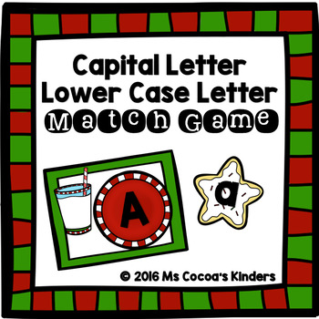 Capital Letter and Lower Case Letter Match Game - Christmas Cookies
