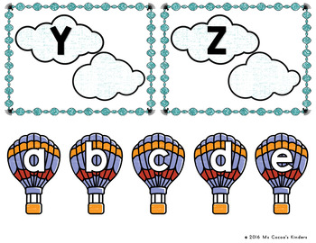 Capital Letter and Lower Case Letter Match Game - Hot Air Balloons