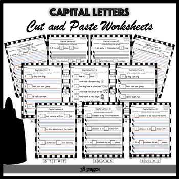 Capital Letters Cut and Paste Worksheets