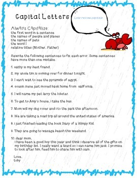 Capital Letters Printable with Larry the Lobster