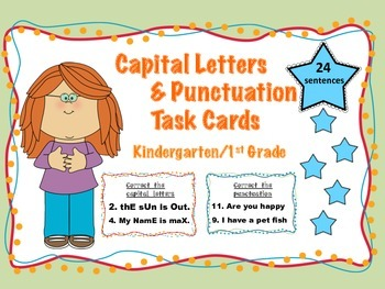 Literacy Center Task Cards Punctuation and Capital Letters ( K and 1st Grade)