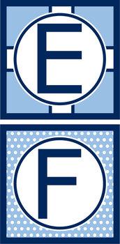 Capital Letters Set - Navy & Light Blue