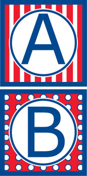 Capital Letters Set- Americana/ Red, White & Blue